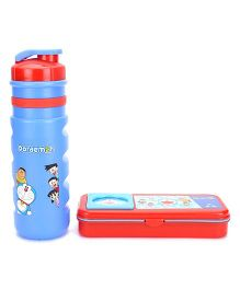 Doraemon Sipper Bottle With Pencil Box - Red And Blue