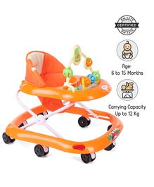 Babyhug Jolly Stroll Baby Walker With Musical Remote - Orange