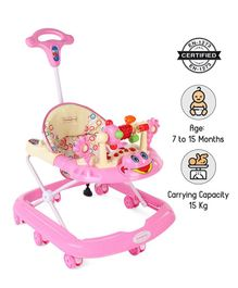 Babyhug First Walk Musical Baby Walker - Pink