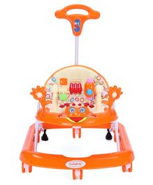 Babyhug First Walk Musical Baby Walker - Orange