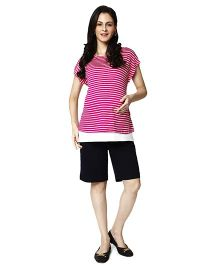 Nine Maternity Striped Nursing Tee - Pink