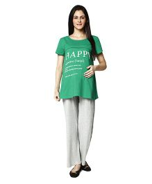 Nine Maternity Pajama Sleepwear Set - Green