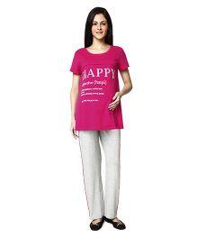 Nine Maternity Pajama Sleepwear Set - Dark Pink