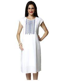 Nine Cap Sleeves Maternity Dress - White