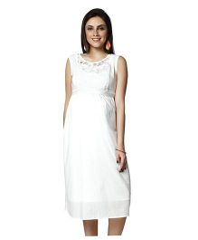 Nine Sleeveless Lace Detail Maternity Dress - White
