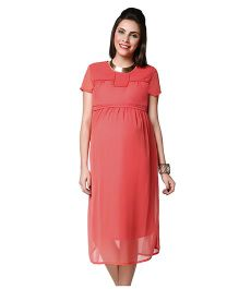 Nine Short Sleeves Pleat Detail Maternity Dress - Coral