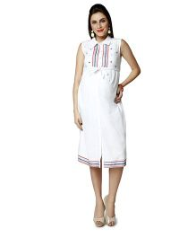 Nine Sleeveless Maternity Dress Boho Embroidery - White