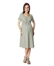 Nine Half Sleeves Maternity Basic Nursing Dress - Grey