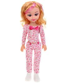 Baby Musical Doll With Heart Print Pink - 15 Inches