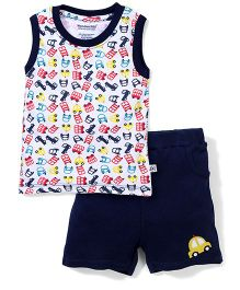 Wonderchild Prnted Top & Shorts Set  - White & Navy Blue
