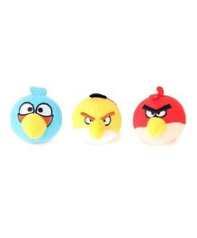 Flyers Bay Angry Bird Plush Soft Toy With Detachable Keychain Multicolor - Pack Of 3