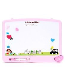 Deli A little Girl And Boy White Board - Pink