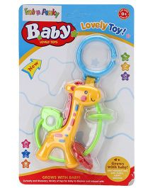 Giraffe Shape Clip On Toy Baby Rattle - Yellow