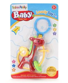 Giraffe Shape Clip On Toy Baby Rattle - Red