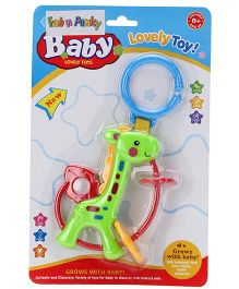 Giraffe Shape Clip On Toy Baby Rattle - Green