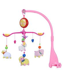 Wind Up Musical Cot Mobile Animal Toy - Pink