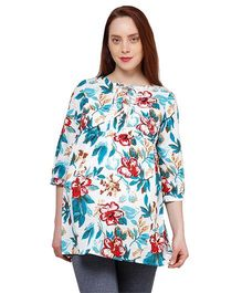 Oxolloxo Three Fourth Sleeves Floral Print Tunic - White & Blue