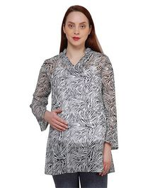 Oxolloxo Full Sleeves Waves Print Maternity Tunic - Black & White