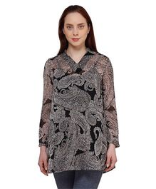 Oxolloxo Full Sleeves Paisley Print Maternity Tunic - Grey