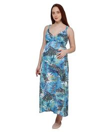 Oxolloxo Singlet Maternity Tropical Print Maxi Dress - Blue