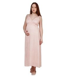 Oxolloxo Singlet Maternity Floral Print Maxi Dress - Peach