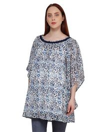 Oxolloxo Three Fourth Sleeves Printed Maternity Tunic - Blue