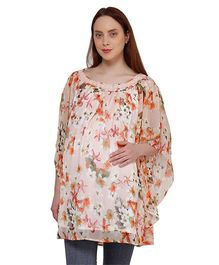 Oxolloxo Three Fourth Sleeves Floral Print Lace Maternity Tunic - Peach