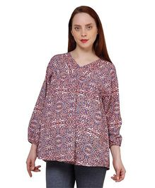 Oxolloxo Full Sleeves Floral Print Maternity Top - Multicolor