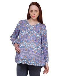 Oxolloxo Full Sleeves Floral Print Maternity Top - Blue & Purple