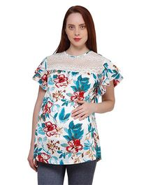 Oxolloxo Butterfly Sleeves Floral Print Maternity Top - Blue & White