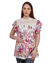 Oxolloxo Butterfly Sleeves Floral Print Maternity Top - White & Multicolor