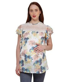 Oxolloxo Butterfly Sleeves Tropical Print Maternity Top - Multicolor