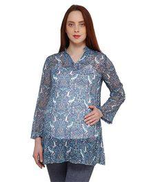 Oxolloxo Full Sleeves Paisely Printed Maternity Tunic - Blue
