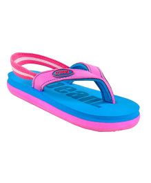 Beanz Flip Flops With Back Strap - Blue Pink