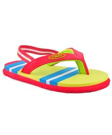 Beanz Flip Flops With Back Strap - Green Blue Red