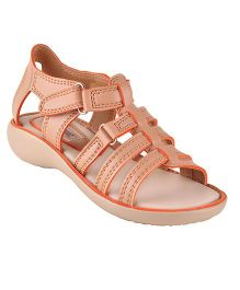 Beanz Sandals With Velcro Closure - Beige