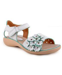 Beanz Party Sandals Floral Motifs - White Beige