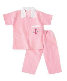 BownBee Half Sleeves Embroidered Collared Night Suit - Pink