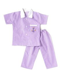 BownBee Half Sleeves Embroidered Collared Night Suit - Purple
