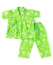 BownBee Half Sleeves Floral Print Night Suit - Green