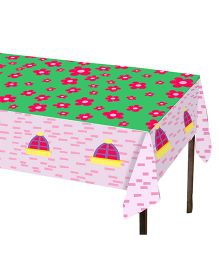 Charmed Celebrations Castle Fun Table Cover - Baby Pink & Green