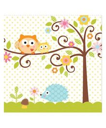 Charmed Celebrations Solid Colors Paper Napkins Pack of 50 Owl Print - Blue
