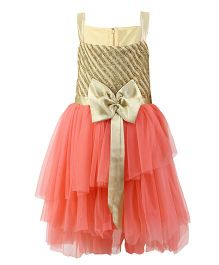 K&U Singlet Frock Striped Glitter Yoke - Golden & Peach