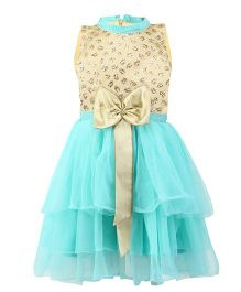 K&U Sleeveless Frock Satin Bow Detail - Blue