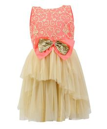 K&U Sleeveless Frock Dori and Sequin Detail Yoke - Light Peach & Gold