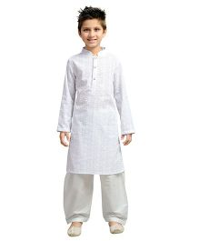 K&U Full Sleeves Kurta & Pathani Set - White