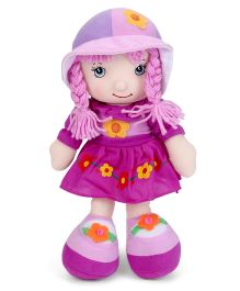 Candy Doll With Floral Print Dress And Hat Purple - Height 32 cm