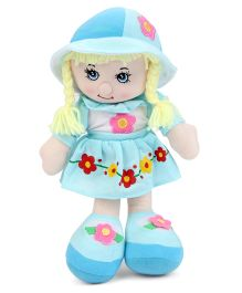 Candy Doll With Floral Print Dress And Hat Blue - Height 32 cm