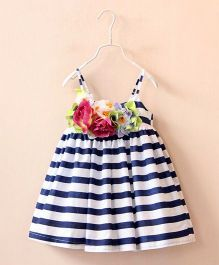 Dress My Angel Flower Glamour Dress - Blue & White