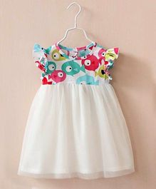 Dress My Angel Fish Print Dress - White